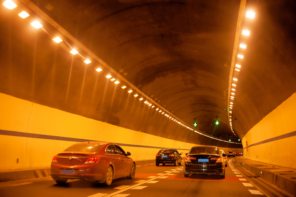 Vehicles through the tunnel